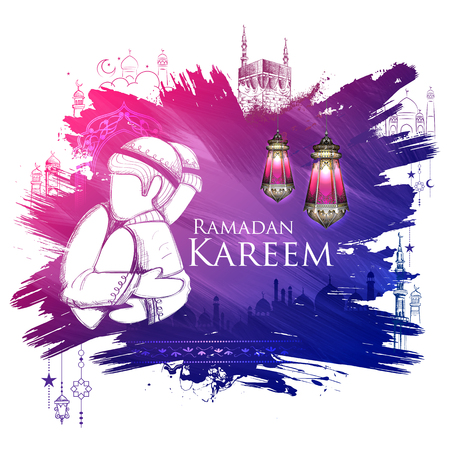 illustration of Ramadan Kareem Generous Ramadan greetings for Islam religious festival Eid with freehand sketch Mecca building Vectores