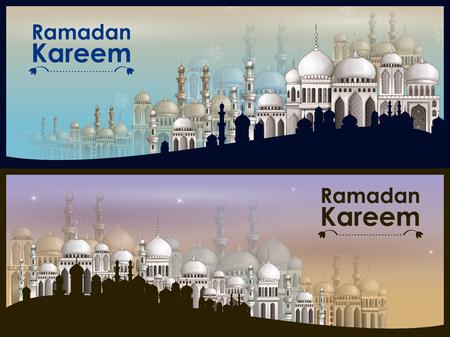 Decorated mosque in Eid Mubarak (Happy Eid) Ramadan background Ilustração