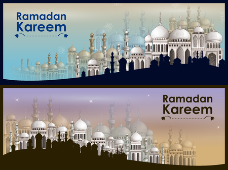 Decorated mosque in Eid Mubarak (Happy Eid) Ramadan background Illustration