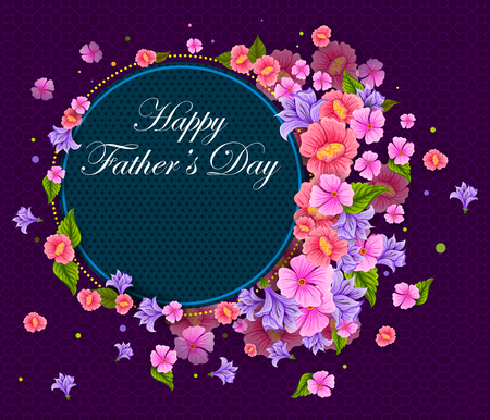 Happy Fathers Day greeting background with flower illustration. Illustration