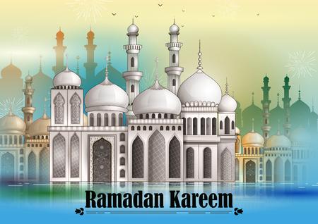 Decorated mosque in Eid Mubarak (Happy Eid) Ramadan background in vector Illustration