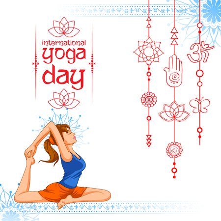 illustration of woman doing asana for International Yoga Day on 21st June
