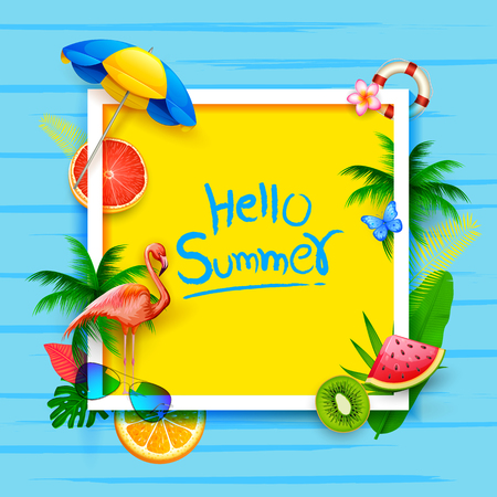 illustration of Summer Time poster design Иллюстрация