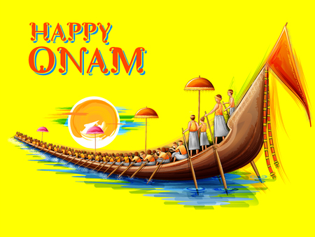 Snakeboat race in Onam celebration background for Happy Onam festival of South India Kerala Illustration