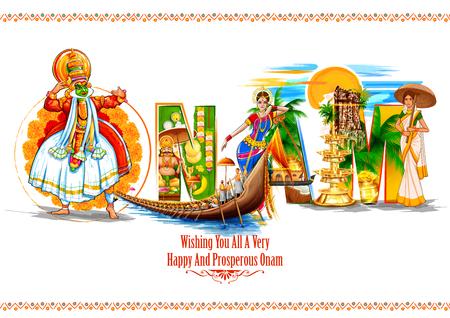 Bailarina de Kathakali en el fondo para el festival Happy Onam del sur de la India, Kerala Ilustración de vector