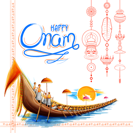 Snakeboat race in Onam celebration background for Happy Onam festival of South India Kerala  イラスト・ベクター素材
