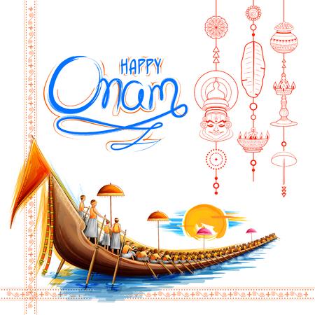 Carrera de botes de serpientes en el fondo de celebración de Onam para el festival Happy Onam del sur de India Kerala