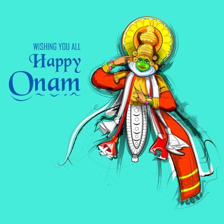 Kathakali dancer on background for Happy Onam festival of South India Kerala Stock Vector - 104068027