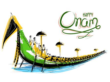 Snakeboat race in Onam celebration background for Happy Onam festival of South India Kerala 일러스트