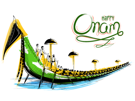Snakeboat race in Onam celebration background for Happy Onam festival of South India Kerala Vectores