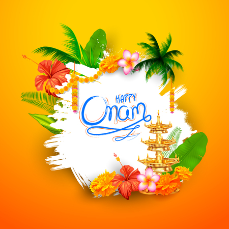 Happy Onam background with rangoli and lamp
