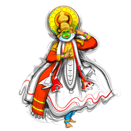 Kathakali dancer on background for Happy Onam festival of South India Kerala