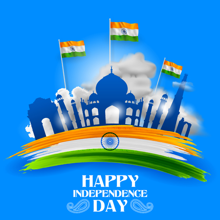 illustration of Famous Indian monument and Landmark for Happy Independence Day of India for Happy Independence Day of India 矢量图像