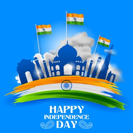 Ilustración del famoso monumento y punto de referencia de la India para el feliz día de la independencia de la India