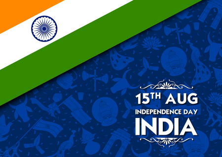 Tricolor banner with Indian flag for 15th August Happy Independence Day of India