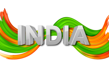 Acrylic brush stroke Tricolor banner with Indian flag for 15th August Happy Independence Day of India background Stock Photo