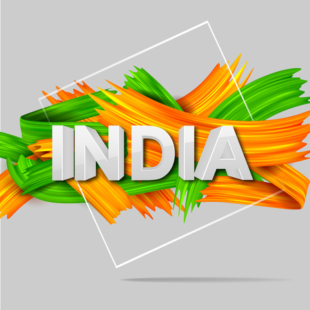 Acrylic brush stroke Tricolor banner with Indian flag for 15th August Happy Independence Day of India background