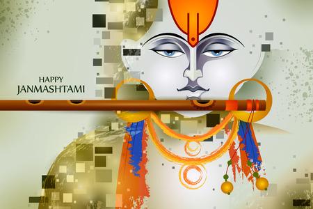 Lord Krishna playing flute on Happy Janmashtami holiday Indian festival greeting background Vector Illustration