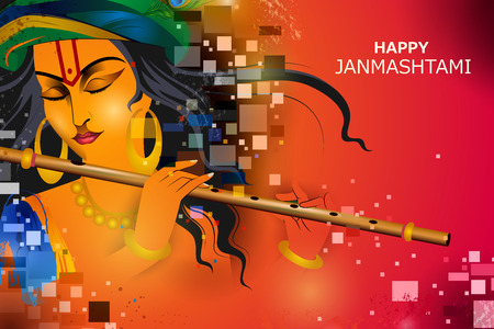 Signore Krishna che suona il flauto su Happy Janmashtami holiday Indian festival saluto sfondo