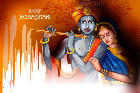Lord Krishna and Radha playing flute on Happy Janmashtami holiday Indian festival background