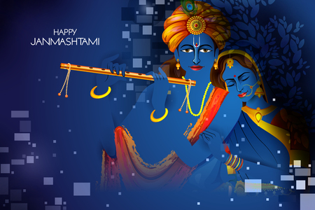Lord Krishna and Radha playing flute on Happy Janmashtami holiday Indian festival background
