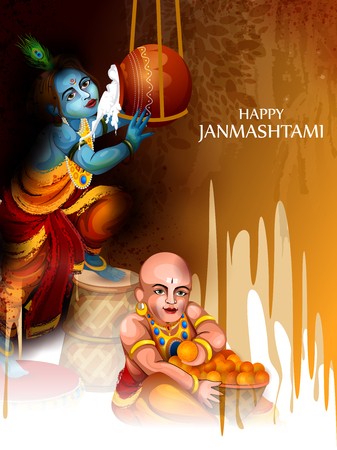 Lord Krishna eating makhan cream on Happy Janmashtami holiday Indian festival greeting background