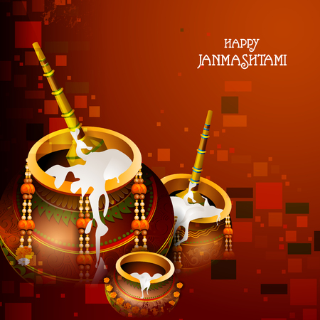 Happy Krishna Janmashtami greeting background
