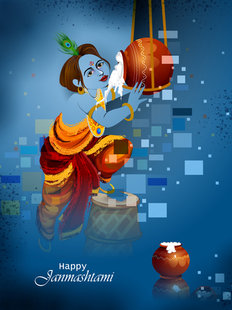 Lord Krishna eating makhan cream on Happy Janmashtami holiday Indian festival greeting background