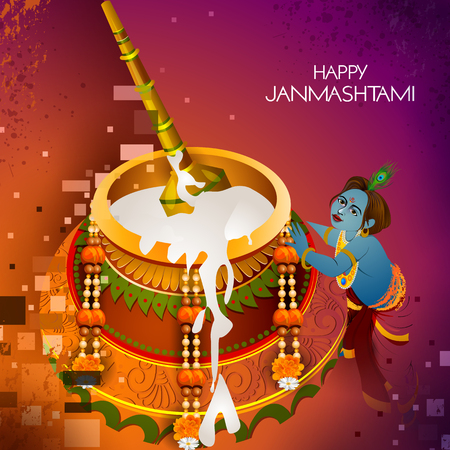 Lord Krishna eating makhan cream on Happy Janmashtami holiday Indian festival greeting background Vector Illustration