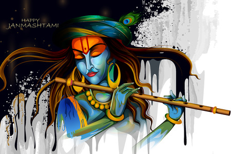 Lord Krishna playing flute on Happy Janmashtami holiday Indian festival greeting background Vettoriali