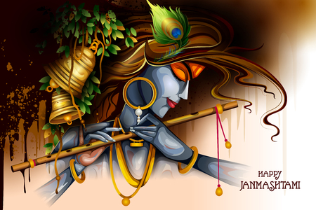 Lord Krishna playing flute on Happy Janmashtami holiday Indian festival greeting background Illustration
