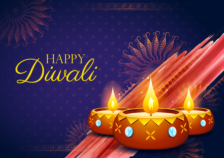 illustration of burning diya on happy Diwali Holiday background for light festival of India Illustration