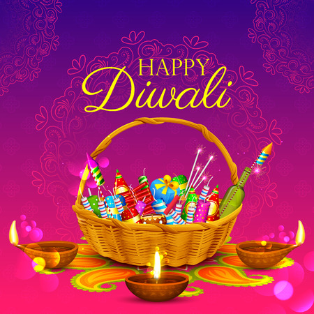 illustration of burning diya and firecracker on Happy Diwali Holiday background for light festival of India