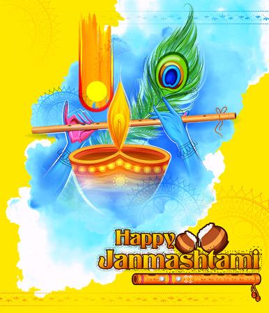 Lord Krishna playing bansuri flute in Happy Janmashtami festival background of India Vector Illustration