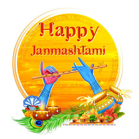 Lord Krishna playing bansuri flute in Happy Janmashtami festival background of India Illustration
