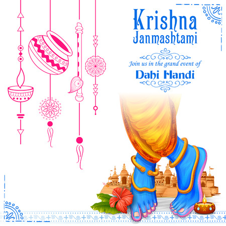 Lord Krishna in Happy Janmashtami festival background of India
