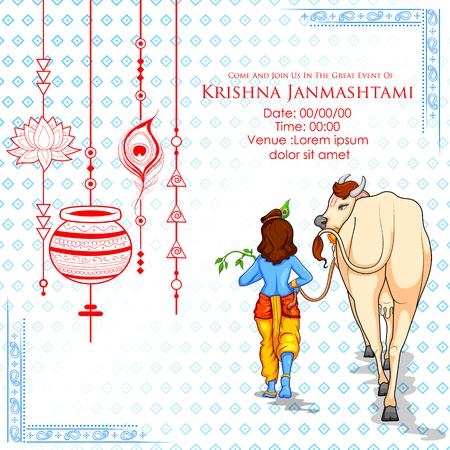 Lord Krishna in Happy Janmashtami festival background of India Vector Illustration