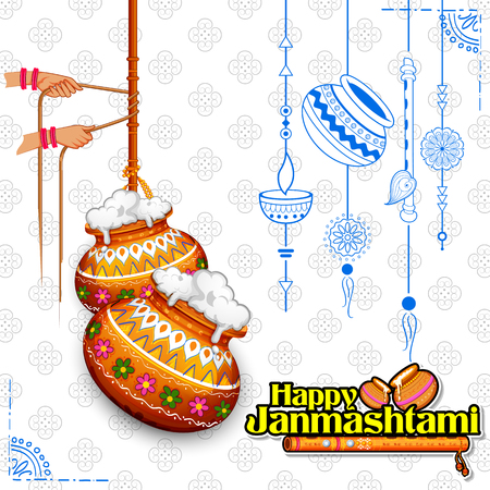 Dahi handi celebration in Happy Janmashtami festival background of India Illustration