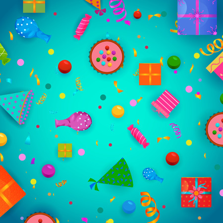 Celebration background for Holiday and Events with confetti and decoration in vector Illustration