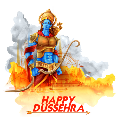 Lord Rama in Navratri festival of India poster for Happy Dussehra Illustration