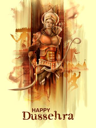 Lord Rama in Navratri festival van India poster voor Happy Dussehra