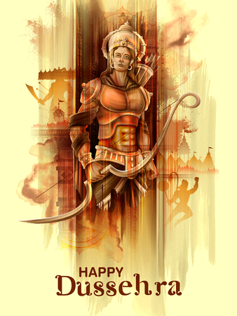 Lord Rama nel poster del festival di Navratri dell'India per Happy Dussehra