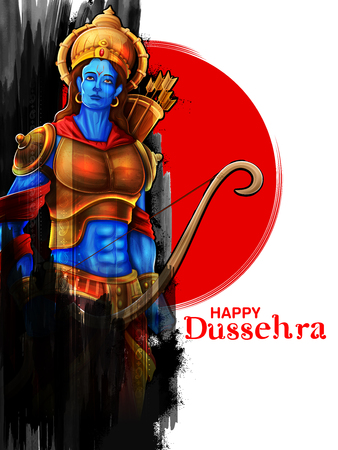 Lord Rama in Navratri festival of India poster for Happy Dussehra 일러스트