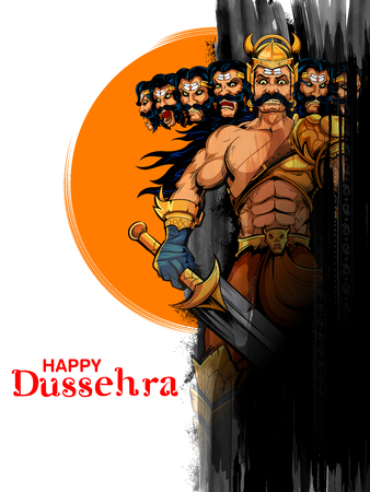 Ravana with ten heads for Navratri festival of India poster for Dussehra