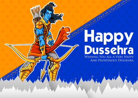 Lord Rama in Navratri festival of India poster for Happy Dussehra Ilustração
