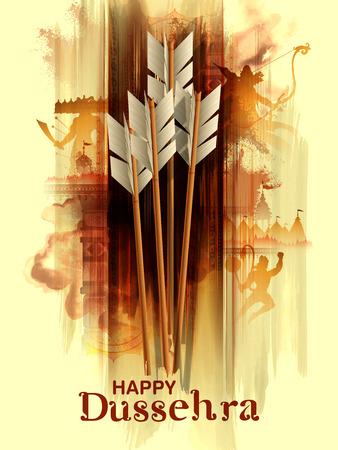 Flèche de Rama en fond de festival Happy Dussehra de l'Inde