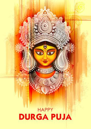 Goddess Durga Face in Happy Durga Puja Subh Navratri background Ilustração