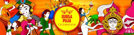 Goddess Durga in Happy Dussehra Navratri background