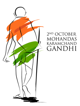 India background with Nation Hero and Freedom Fighter Mahatma Gandhi for Independence Day or Gandhi Jayanti 版權商用圖片 - 109607677