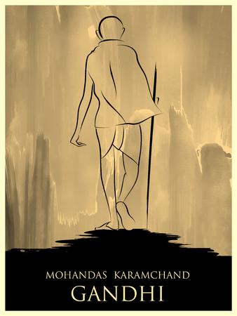 Indien Hintergrund mit Nation Hero und Freiheitskämpfer Mahatma Gandhi für Independence Day oder Gandhi Jayanti